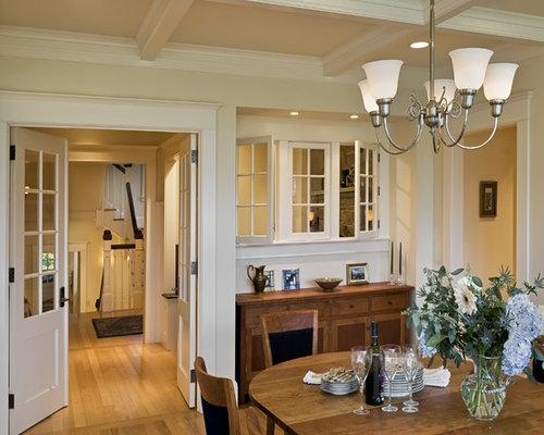 Ornate Medium Tone Wood Floor Dining Room Photo In Burlington With Beige Walls