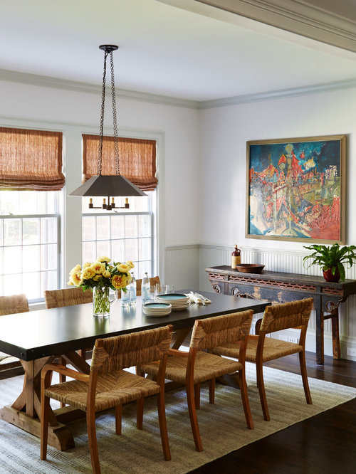 Asian Enclosed Dining Room Idea In Boston With Gray Walls Dark Hardwood Floors And Brown
