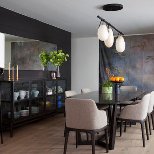 Photo of a contemporary dining room in Austin with white walls, light hardwood floors and beige floor.