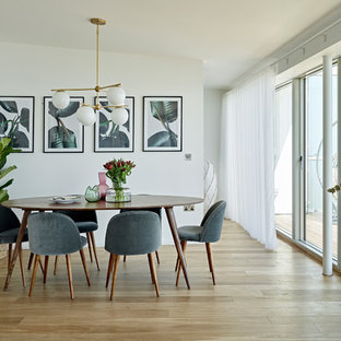 Design ideas for a medium sized contemporary dining room in London with white walls, light hardwood flooring and beige floors.