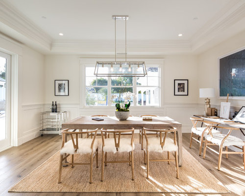 Example Of A Transitional Medium Tone Wood Floor And Brown Dining Room Design In Los