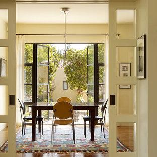 Large Trendy Dark Wood Floor Dining Room Photo In San Francisco With Beige  Walls