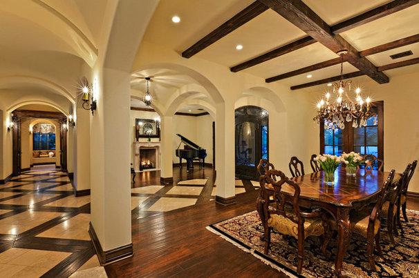 Mediterranean Dining Room by Hendricks Construction