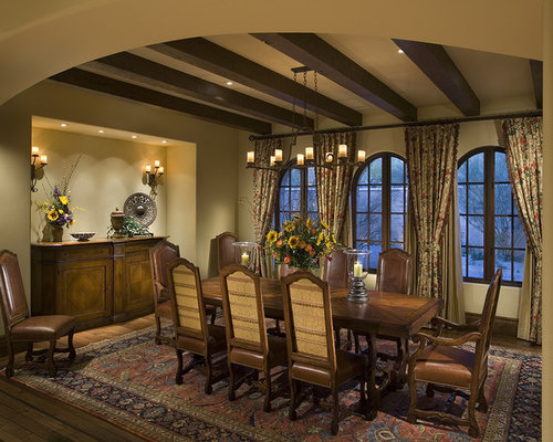 Inspiration For A Rustic Dark Wood Floor Dining Room Remodel In Phoenix  With Beige Walls