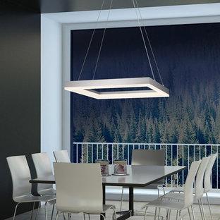 Immagine di una sala da pranzo aperta verso la cucina moderna di medie dimensioni con pareti grigie e pavimento in marmo