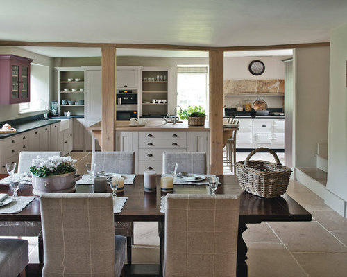 Large Country Limestone Floor Kitchen Dining Room Combo Photo In Dorset With White Walls