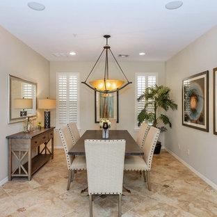 Elegant Beige Floor Enclosed Dining Room Photo In Phoenix With Gray Walls