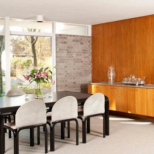 Idee per una sala da pranzo minimalista con moquette