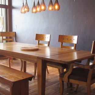 Diseño de comedor rural, de tamaño medio, abierto, con paredes púrpuras, suelo de madera en tonos medios y suelo multicolor