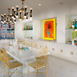 Dining room - midcentury modern dining room idea in Los Angeles with white walls