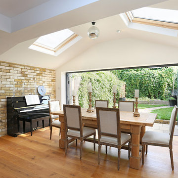 Skylights fiood this kitchen extension with light