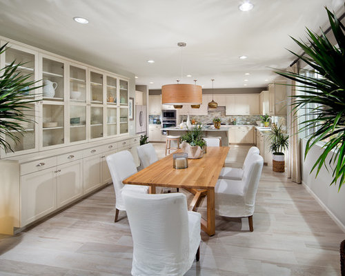 Example Of A Tuscan Kitchen/dining Room Combo Design In Orange County With  Gray Walls Part 36