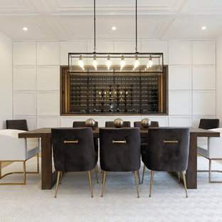 Large trendy light wood floor and brown floor enclosed dining room photo in New York with white walls and no fireplace