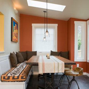 Inspiration för moderna matplatser, med orange väggar