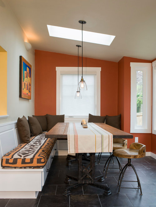 Gentil Dining Room   Contemporary Dining Room Idea In Seattle With Orange Walls