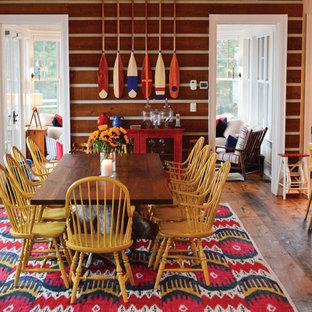 Inspiration för ett rustikt kök med matplats