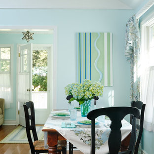 Example of a beach style medium tone wood floor dining room design in Chicago with blue walls