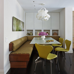 Mid-sized trendy dark wood floor kitchen/dining room combo photo in New York with white walls and no fireplace