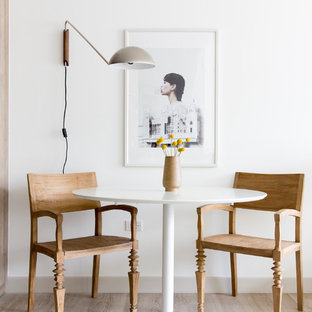 Small Danish Light Wood Floor Dining Room Photo In San Francisco With White  Walls
