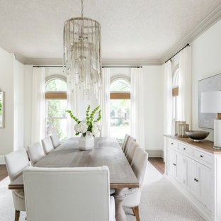 Свежая идея для дизайна: отдельная столовая в стиле неоклассика (современная классика) с белыми стенами, паркетным полом среднего тона и потолком с обоями без камина - отличное фото интерьера
