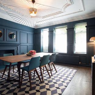 ロンドンのトランジショナルスタイルのおしゃれな独立型ダイニング (青い壁、濃色無垢フローリング、標準型暖炉、漆喰の暖炉まわり) の写真