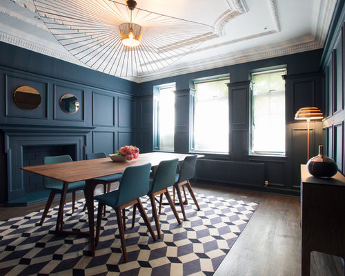 Design Ideas For A Traditional Enclosed Dining Room In London With Blue Walls Dark Hardwood
