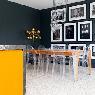 Inspiration for a medium sized contemporary kitchen/dining room in Other with black walls and multi-coloured floors.