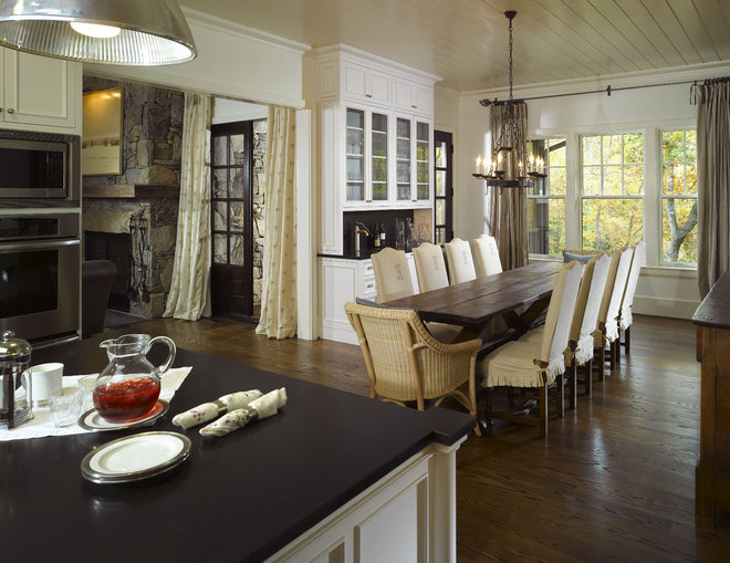 Traditional dining room by summerour architects for Dining room table narrow width