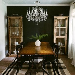 Diseño de comedor ecléctico, pequeño, cerrado, con paredes negras