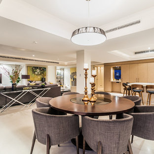 Inspiration for a contemporary open plan dining in Perth with white walls.