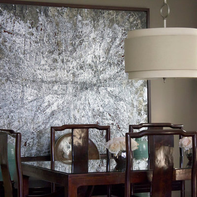 Dining room - small asian dining room idea in Vancouver with brown walls