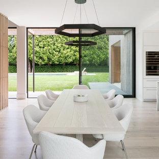 Kitchen/dining Room Combo   Farmhouse Light Wood Floor And Beige Floor  Kitchen/dining