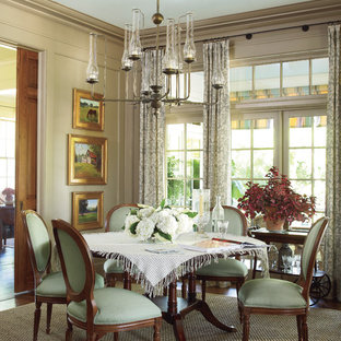Inspiration for a mid-sized timeless dark wood floor enclosed dining room remodel in Atlanta with beige walls