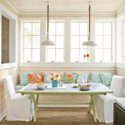 Inspiration for a coastal medium tone wood floor kitchen/dining room combo remodel in Birmingham