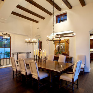 Photo of a medium sized mediterranean open plan dining room in San Diego with white walls, dark hardwood flooring, a hanging fireplace and brown floors.