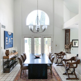Eclectic White Floor Enclosed Dining Room Photo In Las Vegas With White  Walls
