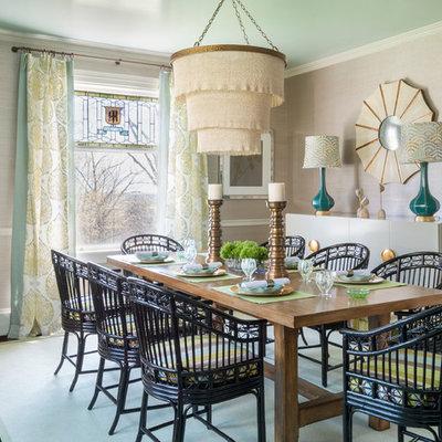 Dining room - contemporary dark wood floor dining room idea in Providence