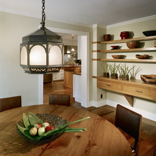 Enclosed dining room - farmhouse dark wood floor enclosed dining room idea in Boston with beige walls