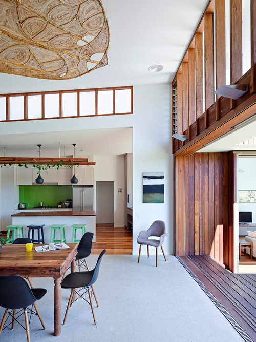 Captivating Example Of A Mid Sized Trendy Concrete Floor Great Room Design In Sunshine  Coast With Part 7