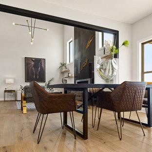 Ispirazione per una sala da pranzo aperta verso la cucina minimal di medie dimensioni con pareti bianche, pavimento in legno massello medio e cornice del camino piastrellata