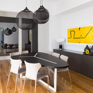 Trendy dining room photo in Adelaide with white walls