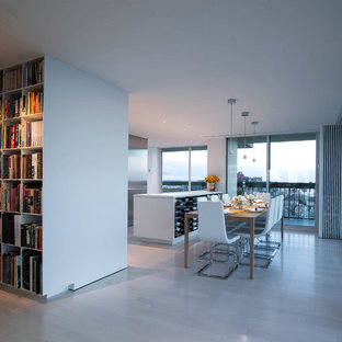 Inspiration For A Large Contemporary Light Wood Floor And White Kitchen Dining Room Combo