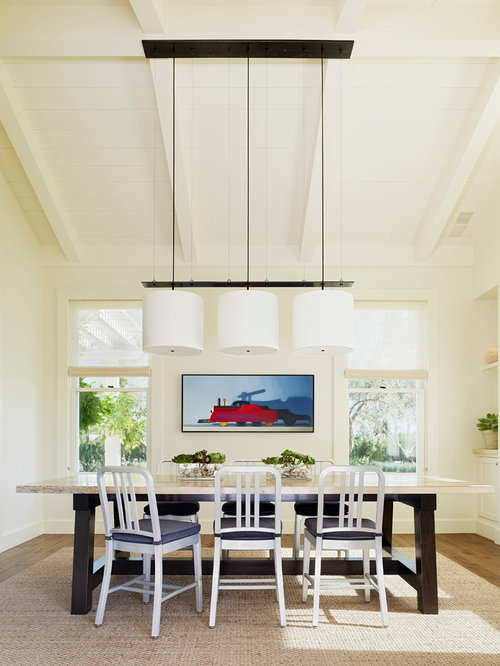 inspiration for a farmhouse dark wood floor dining room remodel in san francisco with white walls