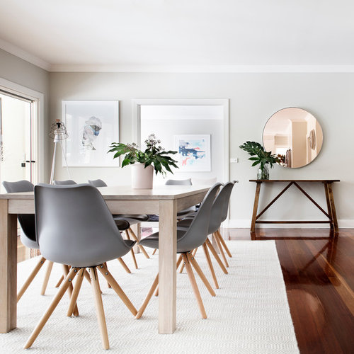 This Is An Example Of A Scandinavian Dining Room In Sydney With Grey Walls Dark