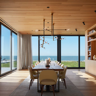 Example of a trendy medium tone wood floor and brown floor dining room design in Chicago with brown walls