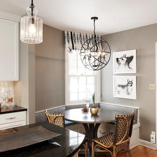 Captivating Example Of A Small Transitional Medium Tone Wood Floor Kitchen/dining Room  Combo Design In