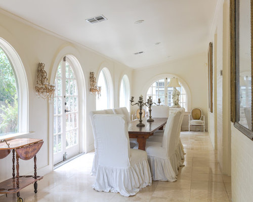 Shabby Chic Dining Rooms. Example of a mid sized cottage chic limestone floor and beige  enclosed dining room 25 Best Shabby Chic Style Dining Room Ideas Decoration Pictures
