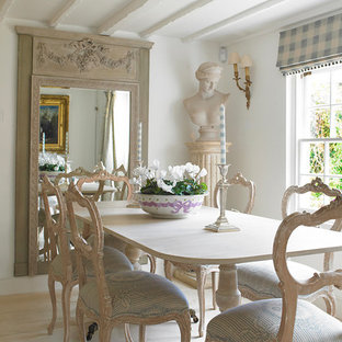Cottage Chic Light Wood Floor Enclosed Dining Room Photo In Wiltshire With  White Walls