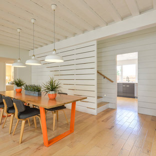 Inspiration for a midcentury dining room in Orange County with white walls, medium hardwood floors and brown floor.