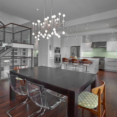 Kitchen/dining room combo - huge contemporary dark wood floor kitchen/dining room combo idea in Edmonton with white walls and no fireplace